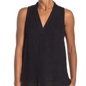 Vince Camuto Solid Sleeveless Hi-Lo Blouse